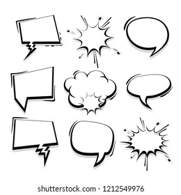Big set hand drawn monochrome blank effects template comic speech bubbles halftone dot vector background in pop art style. Dialog empty cloud, space for text. Creative comics book conversation chat