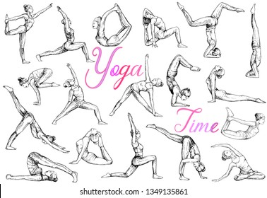Big set of hand drawn sketch style abstract people doing yoga isolated on white background. Vector illustration.