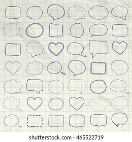 Big Set of Hand Drawn Sketched Rustic Doodle Speech Bubbles and Banners, Frames and Borders on Crumpled Notebook Texture. Pen Drawing Outlined Vector Illustration.