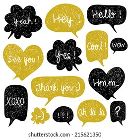 Big set of hand drawn speech bubbles. Doodle cartoon comic bubbles. Used for wallpaper, pattern fills, web page background,surface textures.
