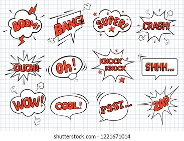 Big set hand drawn template comic speech bubbles. There are boom, bang, crash, oh, cool, psst, wow, zap, knock knock, super, shh and ouch. Vector illustration in comic style