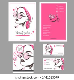 Big set of hand drawn template for card, flyer, poster, brochure and leaflet design. Fashion illustration with woman fit for fashion shop, optics, spa salon, hairdresser Vector graphic Pink rose color