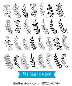 Big set of hand drawn vector branches with leaves, flowers, berries. Design elements for invitations, greeting cards, posters, wedding frames.