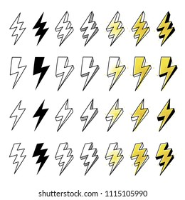 Big set of hand drawn Vector Lightning bolts illustrations