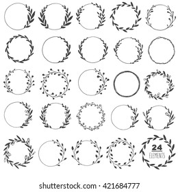 Big set of hand drawn vector round frames. Floral wreaths with leaves, berries. Decorative elements for design. Ink, vintage, rustic.