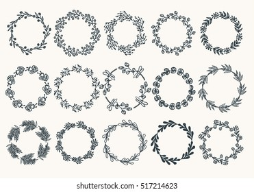 Big set of hand drawn wreaths. Vector. Isolated.
