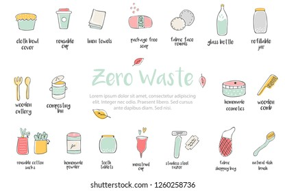 Big set of hand drawn zero waste icons. Canvas bags, glass bottle, jars, reusable cups, wooden cutlery, bamboo comb, linen towels