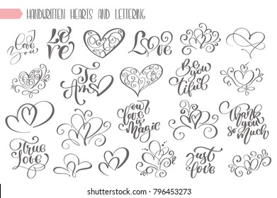 Big set hand written lettering about love to valentines day and heart design poster, greeting card, photo album, banner, flourish calligraphy vector illustration collection