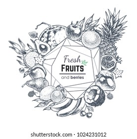 Big set hand-drawn fruit. Composition with frame. Isolated vector ilustration 4 menu design, template of labels 4 packaging of fruit & juice