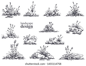 Big set of hand-drawn stylish illustrations of trees, bushes, cameos, grass for landscape design. Isolated on white background. Vector.