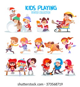 Big set of happy cartoon kids playing outdoors in winter. Kids making snowman,riding sled,running together,playing hockey,snowballs and figure skating. Kids icon set isolated on white background