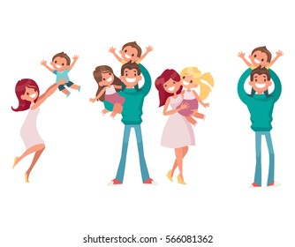 Big Set of Happy Family vector illustrations. Mom holding her daughter. Dad keeps son on his shoulders.  Family on a walk.