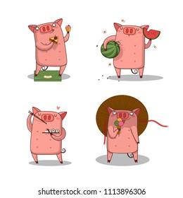 big set/ happy pig