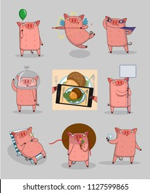 big set happy pig
