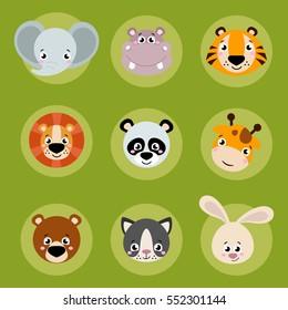 Big set head of animals icons. Vector collection funny face of animals. Cute face of animals: forest, farm, domestic in cartoon style. Giraffe, elephant, hippo, rabbit, tiger, lion, panda, cat