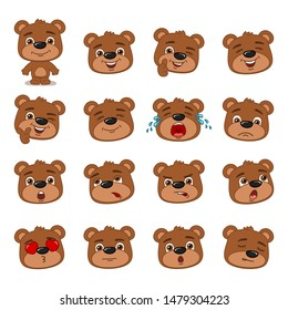 Big set of heads with expressions of emotions of funny teddy bear in cartoon style isolated on white background