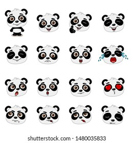 Big set of heads with expressions of emotions of funny panda bear in cartoon style isolated on white background