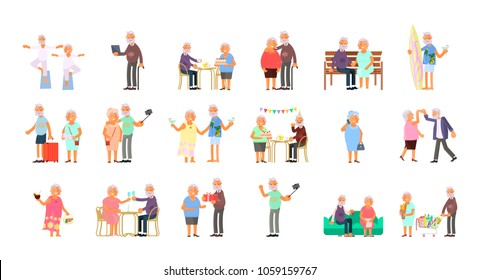 Big set of healthy active lifestyle retiree for grandparents. Elderly people characters.  Grandparents family Seniors isolated on white background Vector illustration eps 10