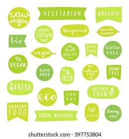 Big set of healthy food badges. Bio, organic, vegan fresh etc. Can be used for your product packaging design.