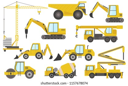 Big set of heavy equipment construction machinery vector icons