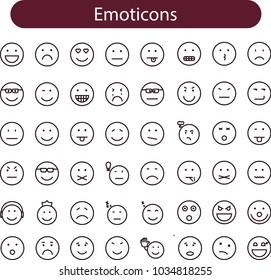 Big Set of high quality vector cartoonish emoticons, line icons