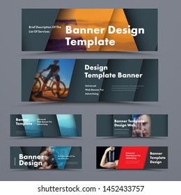 Big set of horizontal black web banners in the style of material design with space for photos and soaring elements with shadow.  Standard size templates for advertising and business.