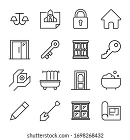Big set of house line icons. Vector illustration isolated on a white background. Premium quality symbols. Stroke vector icons for concept or web graphics. Simple thin line signs.