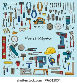 Big set of house repair tools including: hammer, sledgehammer, spatula, brush, nail, screw, nut, wrench  and other tools. Hand drawn vector collection