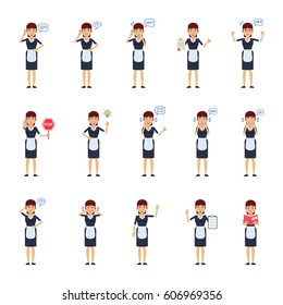 Big set of housemaid characters showing different actions, gestures, emotions. Cheerful maid talking on phone, holding stop sign, document, book and doing other actions. Simple vector illustration