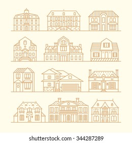 Big Set Of Houses Icons Design Elements Vector Illustration Trendy Linear Style