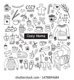Big set of Hygge icons. Warm and cozy hand drawn vector illustration in scandinavian style. Winter elements  for greeting cards, posters, stickers and seasonal design.