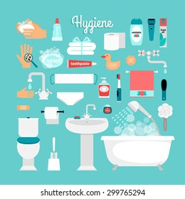 Big set of hygiene: bath, toilet, sink, sponge, shampoo, shower, soap, towel, toothbrush, toothpaste