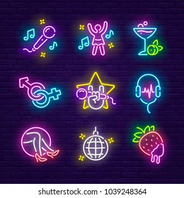 Big set icon. Isolated icon neon style. Theme night club, disco and karaoke.  Logo, emblem and label. Line icons colorful. Vector illustration.