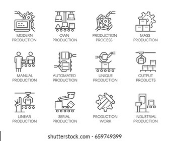 Big set of icons of automatic and manual production. Outline symbols of business, modern machinery equipment concept. Editable Stroke.