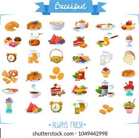 Big set icons of breakfast