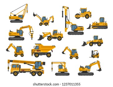 Big set of icons construction work. Building machinery.Special machines for the construction work