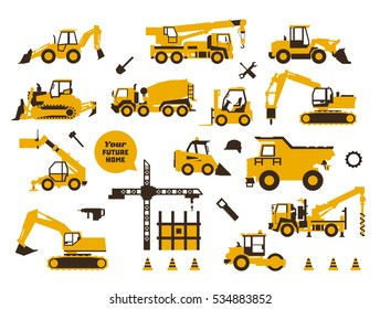 Big set of icons construction work. Building machinery, special transport. Heavy Equipment. Trucks, cranes, tractors, excavators. Hydraulic equipment and tools. Saw, drill, shovel. Flat style