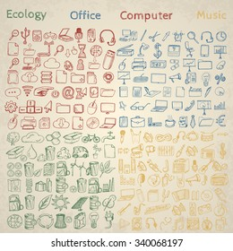 Big set of icons for different occasions. Hand drawn vector.