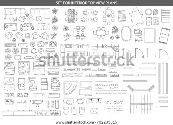 Big set of icons for Interior top view plans
