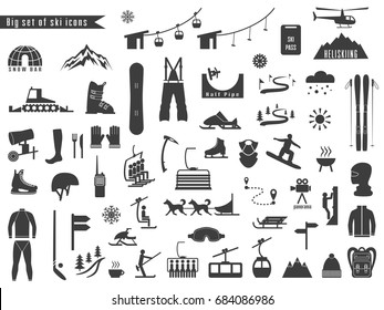 Big set of icons for ski and winter sports. Design for tourist catalog, maps of the ski slopes, placard, brochure, flyer, booklet. Vector illustration.