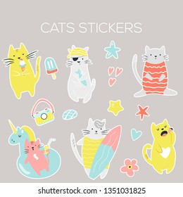 Big set of icons, stickers of funny summer cats. Vector illustration