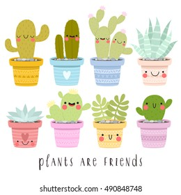 big set of illustrations of cute cartoon cactus and succulents with funny faces in pots and with plants are friends text message. can be used for cards, invitations or like sticker