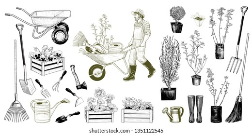 Big set of images of various garden tools, seedlings and gardener with a wheelbarrow. Vintage ink drawing. Isolated objects on white background. Hand drawn clipart. Vector illustration.