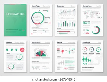 Big set of infographic vector elements in flat business style. Vector illustrations of modern info graphics. Use in website, flyer, corporate report, presentation, advertising, marketing etc.