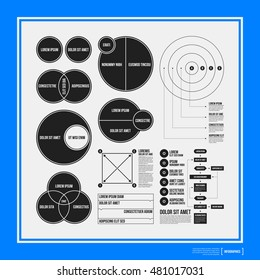 Big set of infographics elements in black and white colors on blue background. Monochrome design. Minimalistic style.