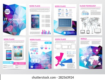 Big set of infographics elements in modern polygon business style. Vector illustration of modern infographic about IT. Use in website, flyer, corporate report, presentation, advertising, marketing. A4