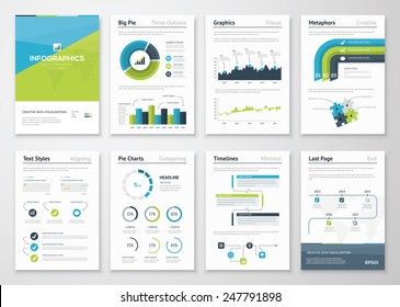 Big set of infographics vector elements and business brochures. Modern styled graphics for data visualization. Use in website, flyer, corporate report, presentation, advertising, marketing etc.