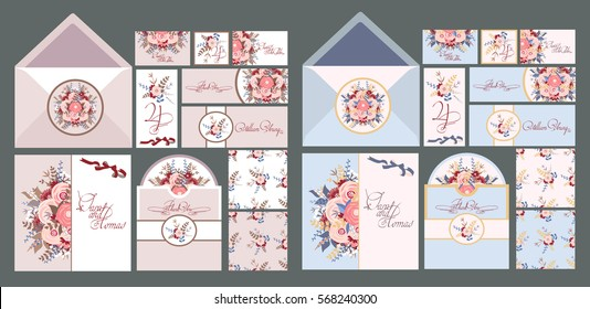 Big set of invitation cards for a wedding in vintage style. Cut laser square envelope template. Vector illustration.