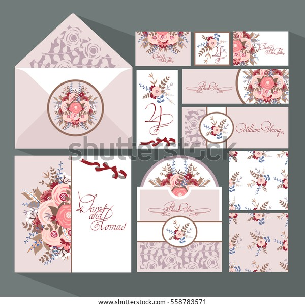 Big Set Invitation Cards Wedding Vintage Stock Vector