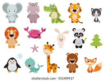 Cartoon images stock photos vectors shutterstock big set isolated animals vector collection funny animals cute animals forest farm voltagebd Images